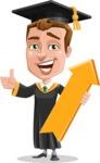 Male College Graduate Cartoon Vector Character AKA Tyler - Pointer 1