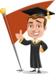 Male College Graduate Cartoon Vector Character AKA Tyler - Chackpoint