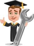 Male College Graduate Cartoon Vector Character AKA Tyler - Repair