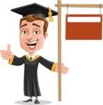 Male College Graduate Cartoon Vector Character AKA Tyler - Sign 9