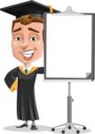Male College Graduate Cartoon Vector Character AKA Tyler - Presentation 1