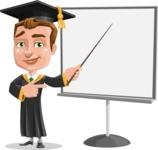 Male College Graduate Cartoon Vector Character AKA Tyler - Presentation 2