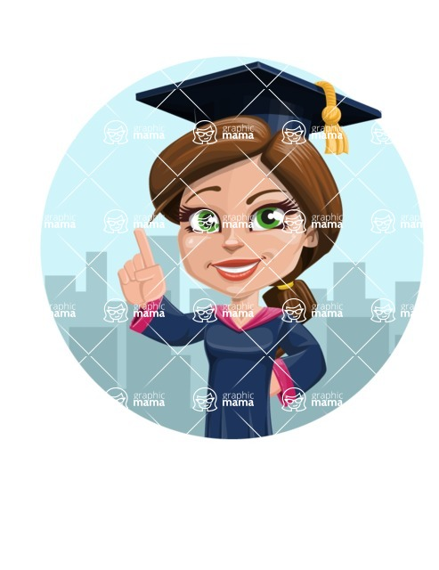 Cute Graduation Girl Cartoon Vector Character AKA Sheryl - Shape 1