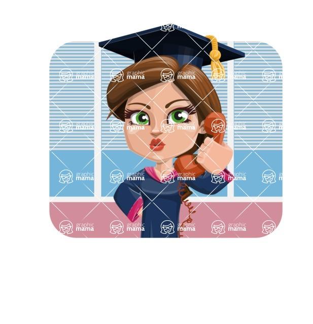Cute Graduation Girl Cartoon Vector Character AKA Sheryl - Shape 2