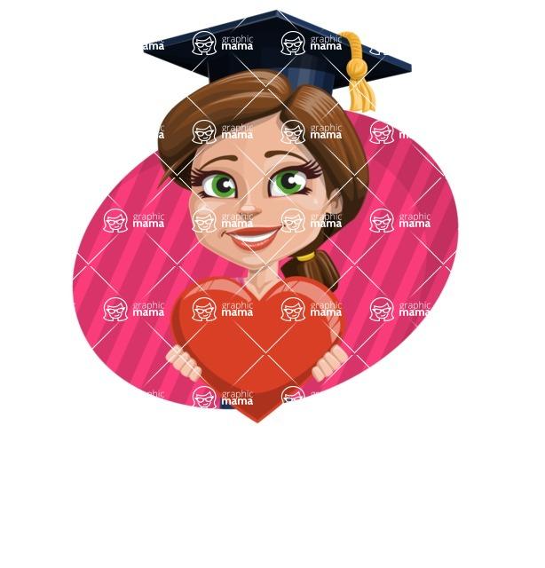 Cute Graduation Girl Cartoon Vector Character AKA Sheryl - Shape 4