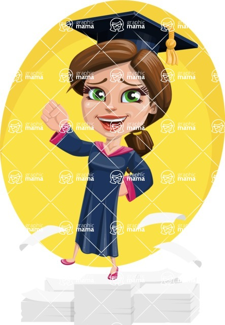 Cute Graduation Girl Cartoon Vector Character AKA Sheryl - Shape 5