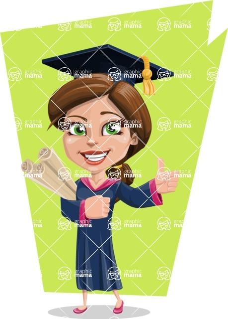 Cute Graduation Girl Cartoon Vector Character AKA Sheryl - Shape 7