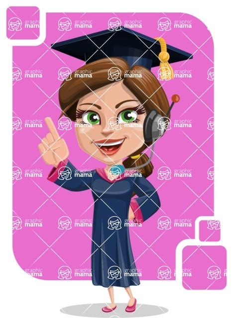 Cute Graduation Girl Cartoon Vector Character AKA Sheryl - Shape 9