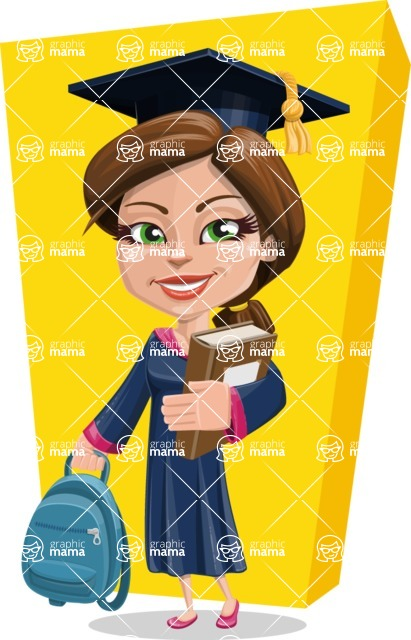 Cute Graduation Girl Cartoon Vector Character AKA Sheryl - Shape 10