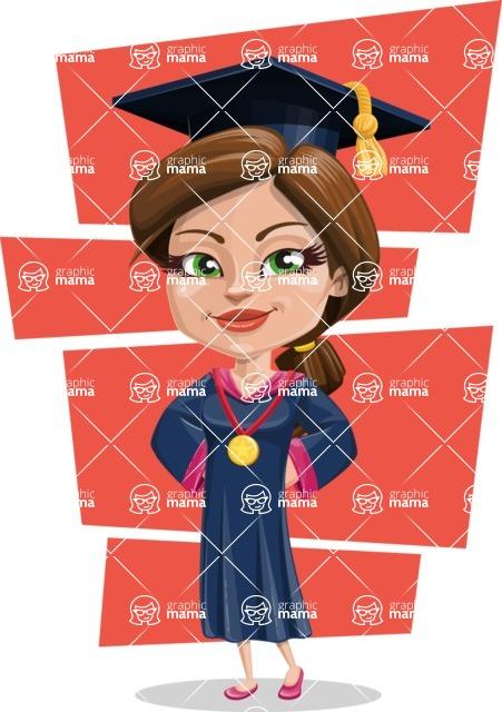 Cute Graduation Girl Cartoon Vector Character AKA Sheryl - Shape 12