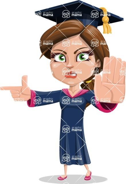 Cute Graduation Girl Cartoon Vector Character AKA Sheryl - Direct Attention 2