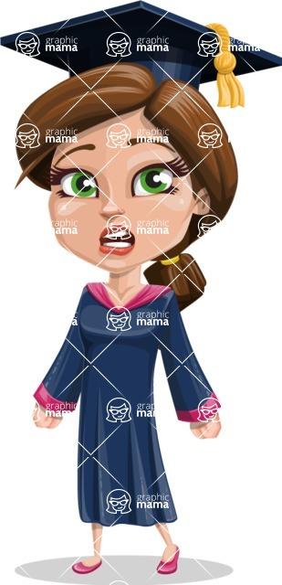 Cute Graduation Girl Cartoon Vector Character AKA Sheryl - Stunned