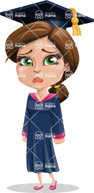 Cute Graduation Girl Cartoon Vector Character AKA Sheryl - Sad