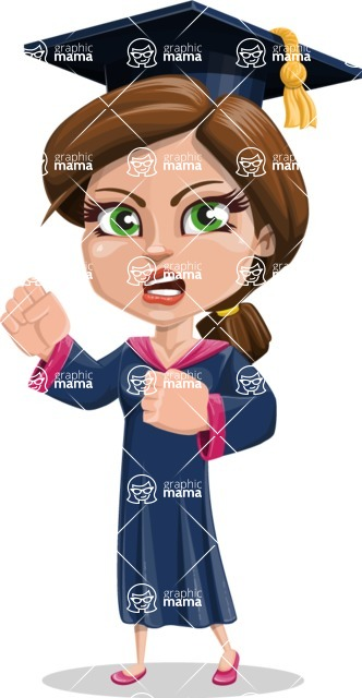 Cute Graduation Girl Cartoon Vector Character AKA Sheryl - Angry