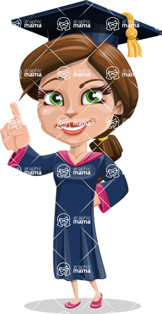 Cute Graduation Girl Cartoon Vector Character AKA Sheryl - Attention