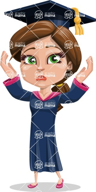 Cute Graduation Girl Cartoon Vector Character AKA Sheryl - Confused