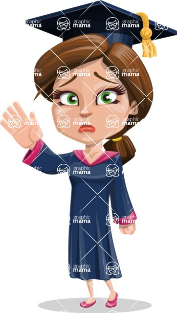 Cute Graduation Girl Cartoon Vector Character AKA Sheryl - GoodBye
