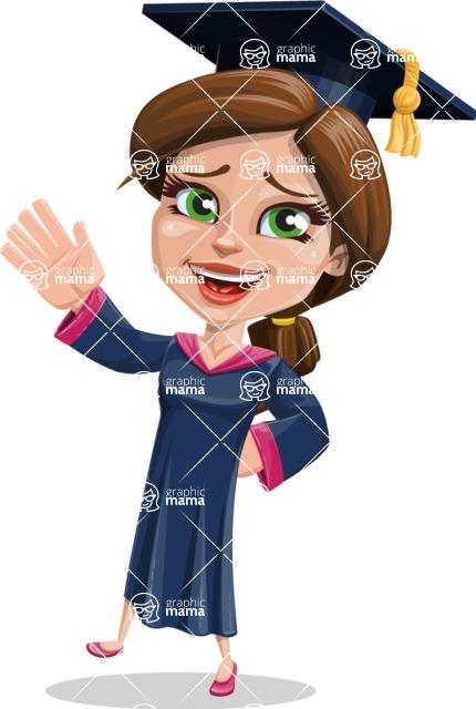 Cute Graduation Girl Cartoon Vector Character AKA Sheryl - Hello