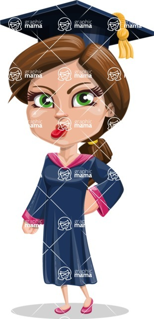 Cute Graduation Girl Cartoon Vector Character AKA Sheryl - Making Face