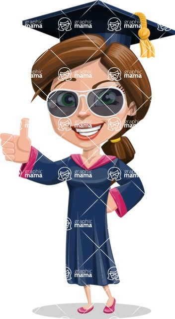 Cute Graduation Girl Cartoon Vector Character AKA Sheryl - Sunglasses