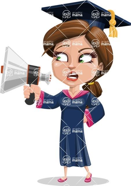 Cute Graduation Girl Cartoon Vector Character AKA Sheryl - Loudspeaker