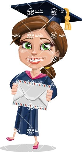 Cute Graduation Girl Cartoon Vector Character AKA Sheryl - Letter