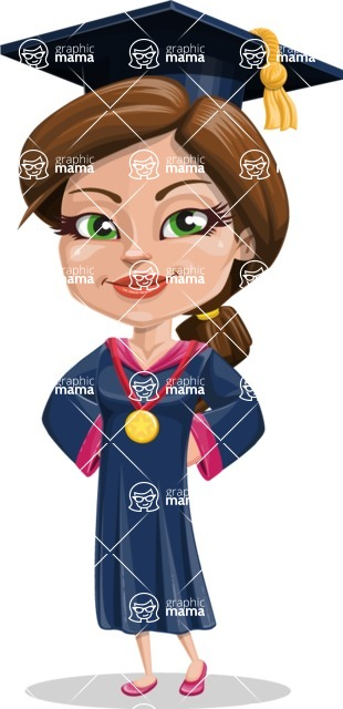 Cute Graduation Girl Cartoon Vector Character AKA Sheryl - Ribbon