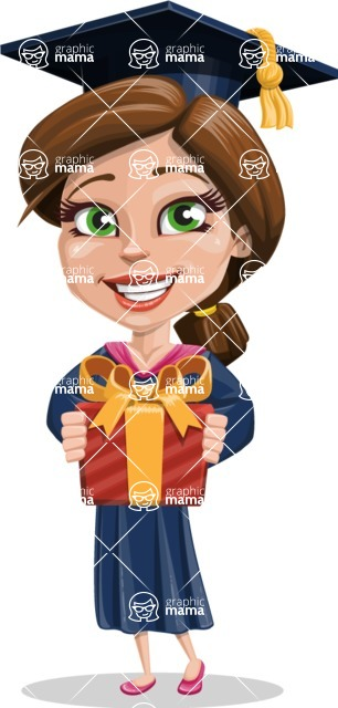 Cute Graduation Girl Cartoon Vector Character AKA Sheryl - Gift