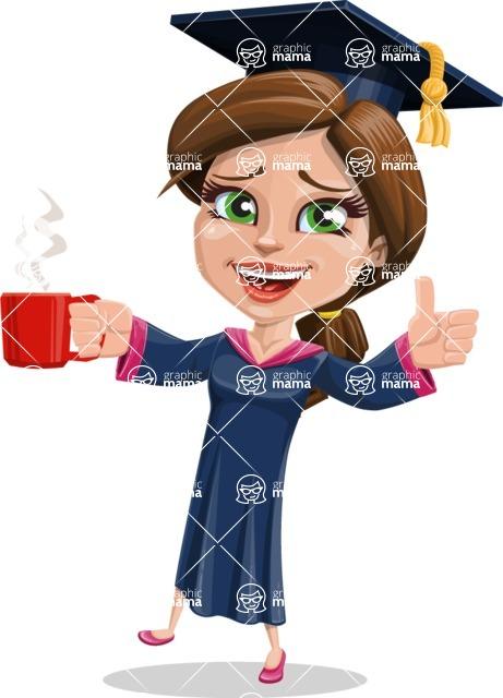 Cute Graduation Girl Cartoon Vector Character AKA Sheryl - Coffee
