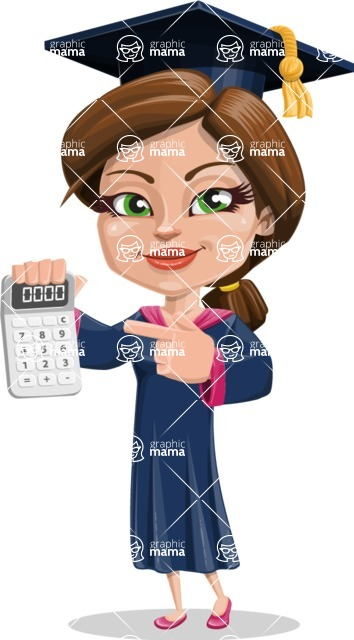 Cute Graduation Girl Cartoon Vector Character AKA Sheryl - Calculator