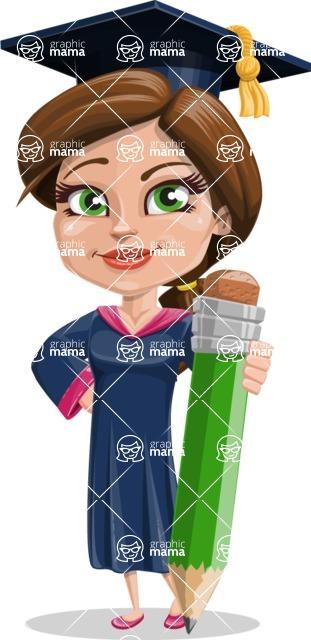 Cute Graduation Girl Cartoon Vector Character AKA Sheryl - Pencil