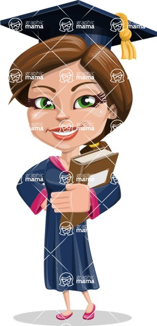 Cute Graduation Girl Cartoon Vector Character AKA Sheryl - Book 3
