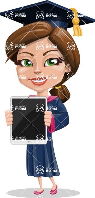 Cute Graduation Girl Cartoon Vector Character AKA Sheryl - iPad 1
