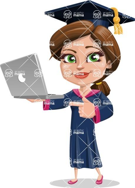 Cute Graduation Girl Cartoon Vector Character AKA Sheryl - Laptop 1