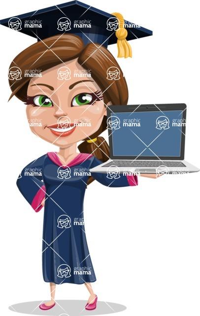 Cute Graduation Girl Cartoon Vector Character AKA Sheryl - Laptop 2