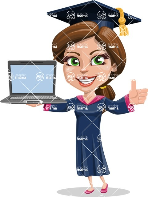 Cute Graduation Girl Cartoon Vector Character AKA Sheryl - Laptop 3