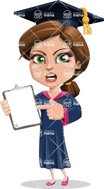 Cute Graduation Girl Cartoon Vector Character AKA Sheryl - Notepad 1