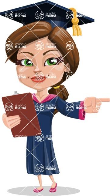 Cute Graduation Girl Cartoon Vector Character AKA Sheryl - Notepad 2