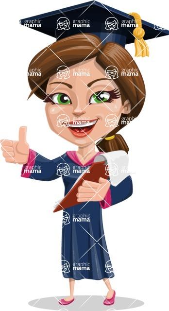 Cute Graduation Girl Cartoon Vector Character AKA Sheryl - Notepad 3