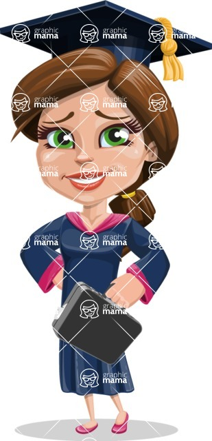 Cute Graduation Girl Cartoon Vector Character AKA Sheryl - Briefcase 1