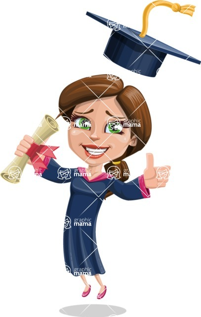 Cute Graduation Girl Cartoon Vector Character AKA Sheryl - Diploma 2