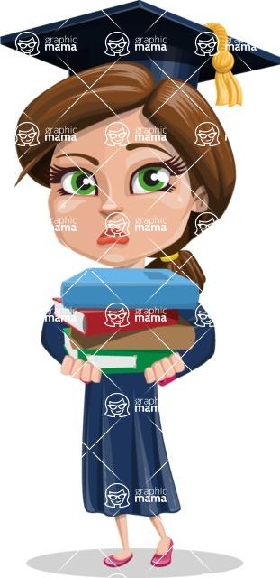 Cute Graduation Girl Cartoon Vector Character AKA Sheryl - Books