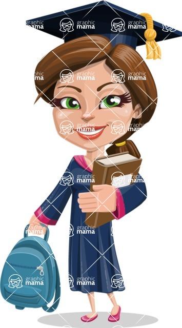 Cute Graduation Girl Cartoon Vector Character AKA Sheryl - Books and Backpack