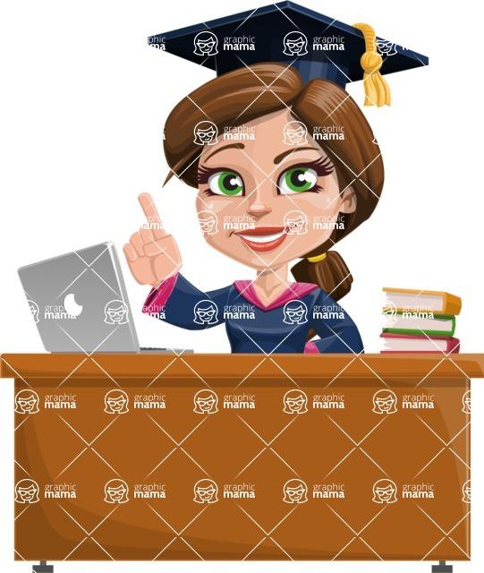 Cute Graduation Girl Cartoon Vector Character AKA Sheryl - Study