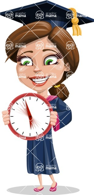 Cute Graduation Girl Cartoon Vector Character AKA Sheryl - Time is Yours