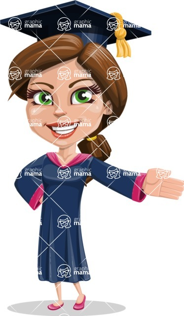 Cute Graduation Girl Cartoon Vector Character AKA Sheryl - Show