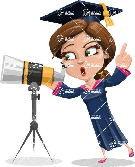 Cute Graduation Girl Cartoon Vector Character AKA Sheryl - Telescope