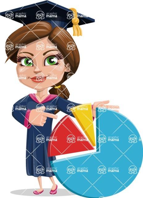 Cute Graduation Girl Cartoon Vector Character AKA Sheryl - Chart