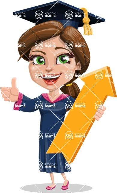Cute Graduation Girl Cartoon Vector Character AKA Sheryl - Pointer 1