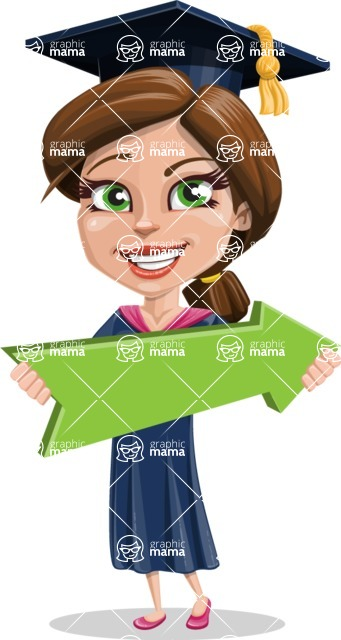 Cute Graduation Girl Cartoon Vector Character AKA Sheryl - Pointer 2